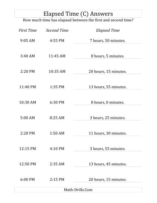 The Elapsed Time up to 24 Hours in 5 Minute Intervals (C) Math Worksheet Page 2
