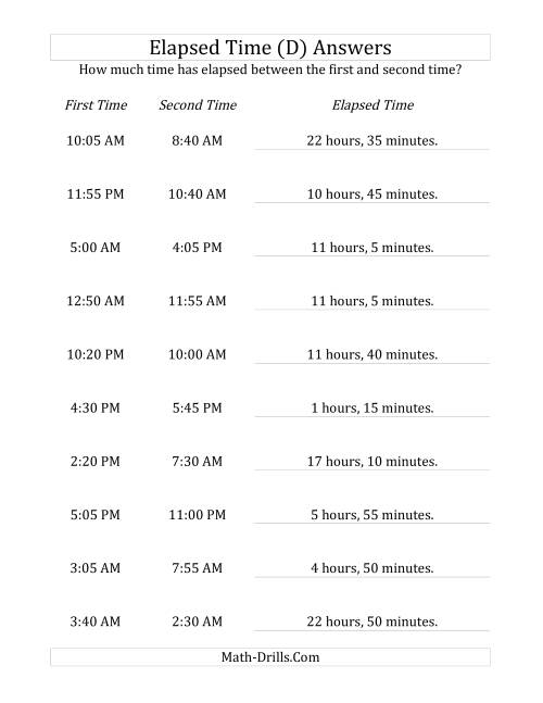 The Elapsed Time up to 24 Hours in 5 Minute Intervals (D) Math Worksheet Page 2