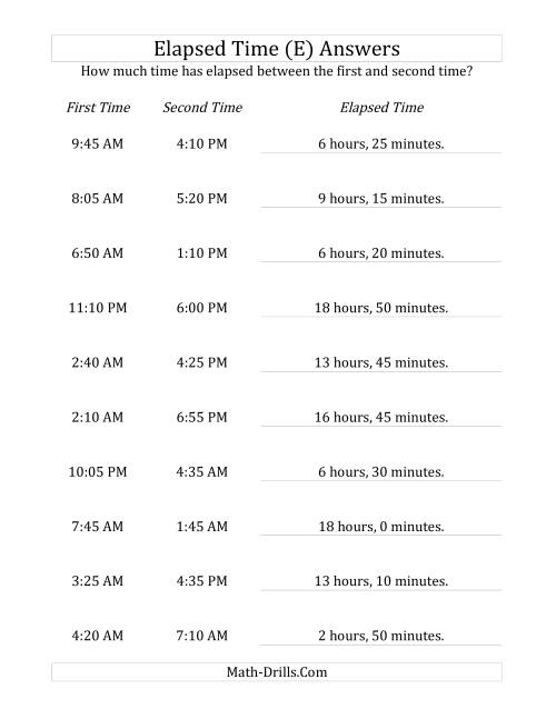 The Elapsed Time up to 24 Hours in 5 Minute Intervals (E) Math Worksheet Page 2