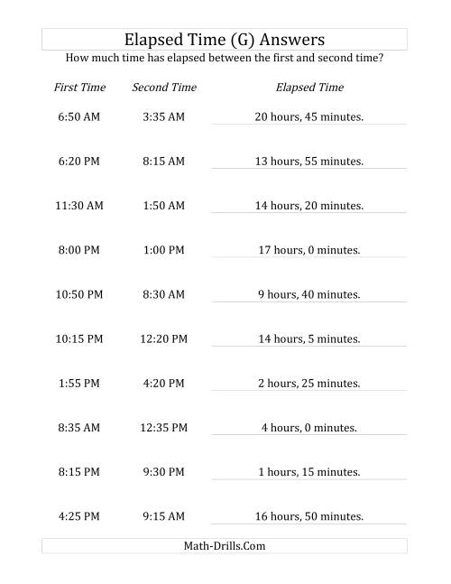 The Elapsed Time up to 24 Hours in 5 Minute Intervals (G) Math Worksheet Page 2