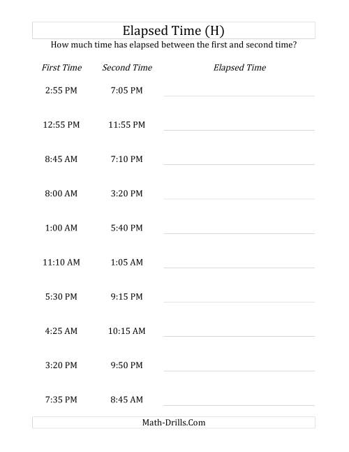 The Elapsed Time up to 24 Hours in 5 Minute Intervals (H) Math Worksheet