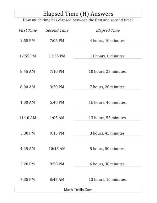 The Elapsed Time up to 24 Hours in 5 Minute Intervals (H) Math Worksheet Page 2