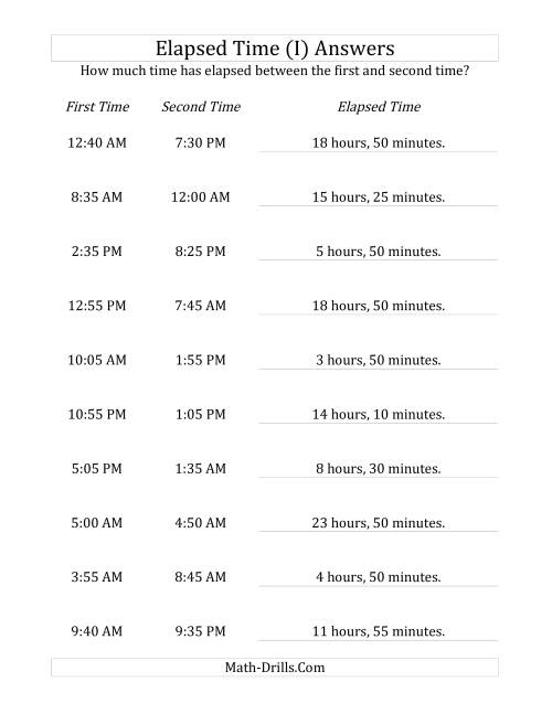 The Elapsed Time up to 24 Hours in 5 Minute Intervals (I) Math Worksheet Page 2