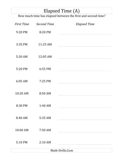 The Elapsed Time up to 24 Hours in 5 Minute Intervals (All) Math Worksheet