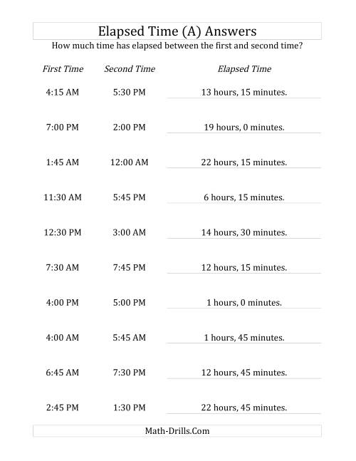 The Elapsed Time up to 24 Hours in 15 Minute Intervals (A) Math Worksheet Page 2