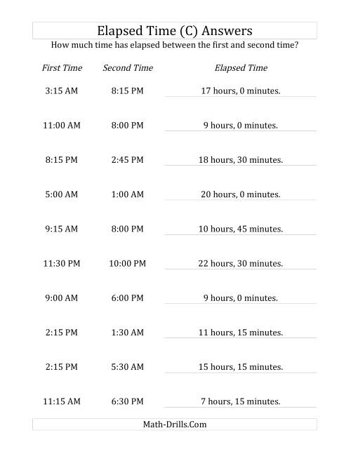 The Elapsed Time up to 24 Hours in 15 Minute Intervals (C) Math Worksheet Page 2