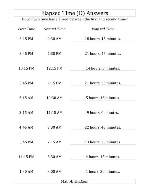 The Elapsed Time up to 24 Hours in 15 Minute Intervals (D) Math Worksheet Page 2