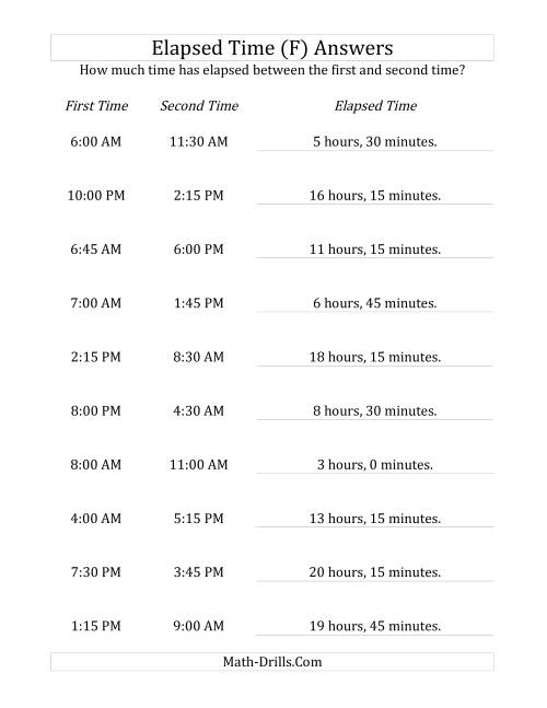 The Elapsed Time up to 24 Hours in 15 Minute Intervals (F) Math Worksheet Page 2