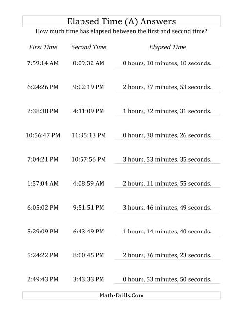 The Elapsed Time up to 5 Hours in 1 Minute and 1 Second Intervals (A) Math Worksheet Page 2