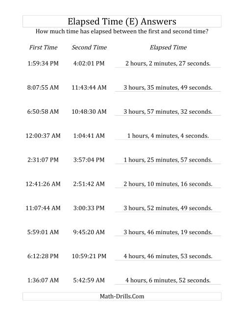 The Elapsed Time up to 5 Hours in 1 Minute and 1 Second Intervals (E) Math Worksheet Page 2