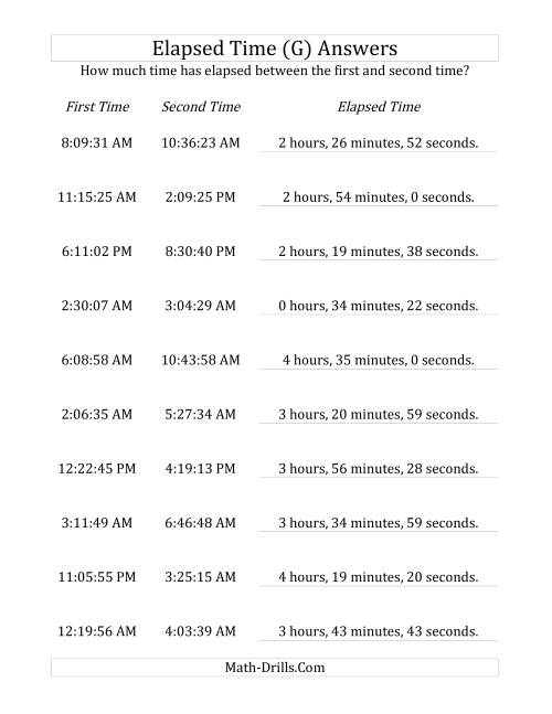 The Elapsed Time up to 5 Hours in 1 Minute and 1 Second Intervals (G) Math Worksheet Page 2