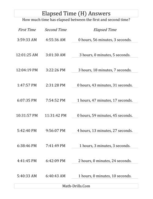 The Elapsed Time up to 5 Hours in 1 Minute and 1 Second Intervals (H) Math Worksheet Page 2