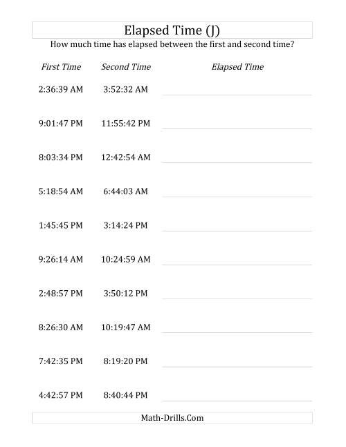 The Elapsed Time up to 5 Hours in 1 Minute and 1 Second Intervals (J) Math Worksheet