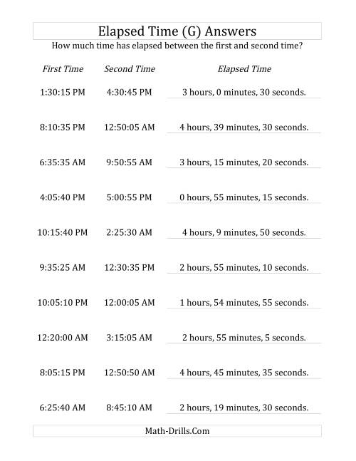 The Elapsed Time up to 5 Hours in 5 Minute and 5 Second Intervals (G) Math Worksheet Page 2