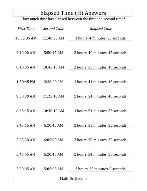 The Elapsed Time up to 5 Hours in 5 Minute and 5 Second Intervals (H) Math Worksheet Page 2