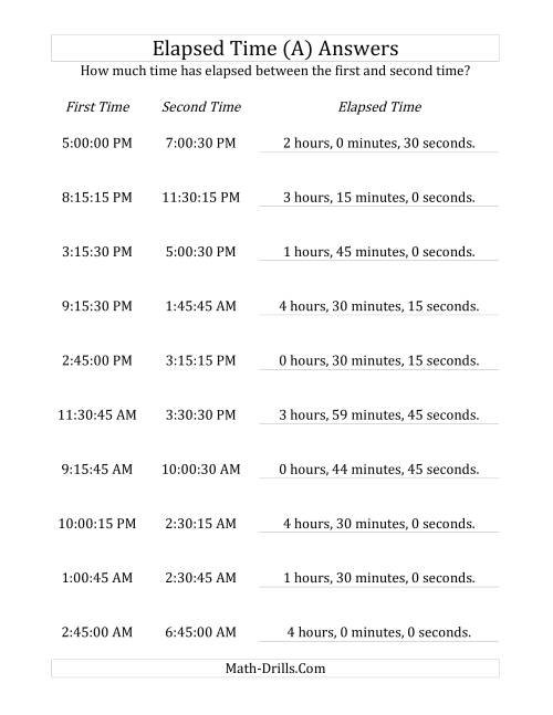 The Elapsed Time up to 5 Hours in 15 Minute and 15 Second Intervals (A) Math Worksheet Page 2