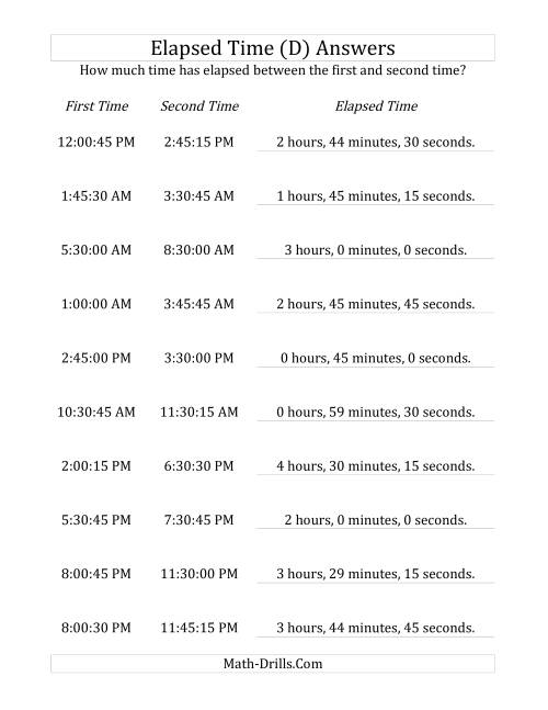 The Elapsed Time up to 5 Hours in 15 Minute and 15 Second Intervals (D) Math Worksheet Page 2