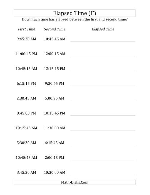 The Elapsed Time up to 5 Hours in 15 Minute and 15 Second Intervals (F) Math Worksheet