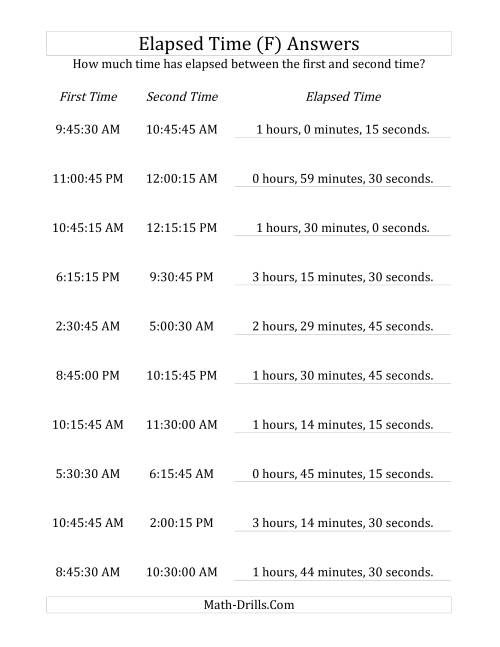 The Elapsed Time up to 5 Hours in 15 Minute and 15 Second Intervals (F) Math Worksheet Page 2