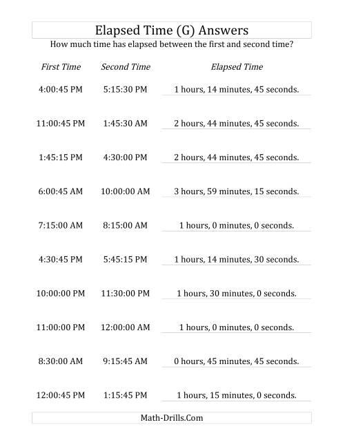 The Elapsed Time up to 5 Hours in 15 Minute and 15 Second Intervals (G) Math Worksheet Page 2