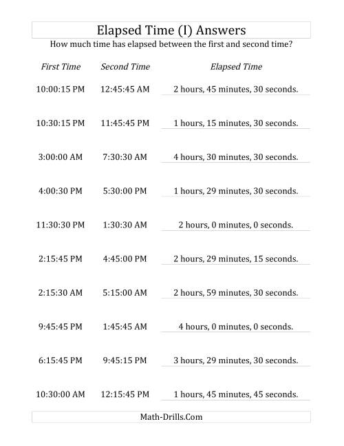 The Elapsed Time up to 5 Hours in 15 Minute and 15 Second Intervals (I) Math Worksheet Page 2