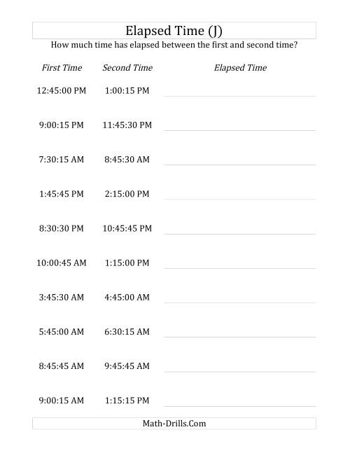 The Elapsed Time up to 5 Hours in 15 Minute and 15 Second Intervals (J) Math Worksheet