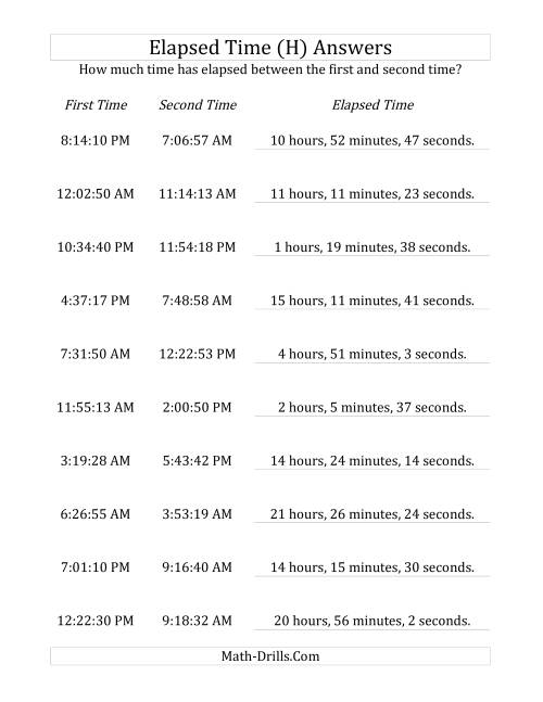 The Elapsed Time up to 24 Hours in 1 Minute and 1 Second Intervals (H) Math Worksheet Page 2