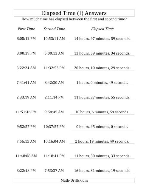 The Elapsed Time up to 24 Hours in 1 Minute and 1 Second Intervals (I) Math Worksheet Page 2