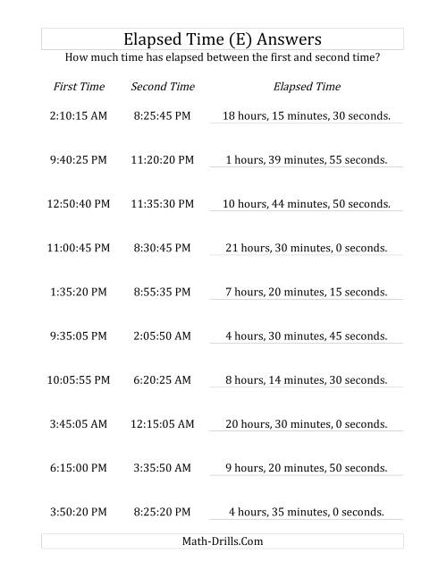 The Elapsed Time up to 24 Hours in 5 Minute and 5 Second Intervals (E) Math Worksheet Page 2