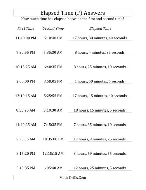 The Elapsed Time up to 24 Hours in 5 Minute and 5 Second Intervals (F) Math Worksheet Page 2