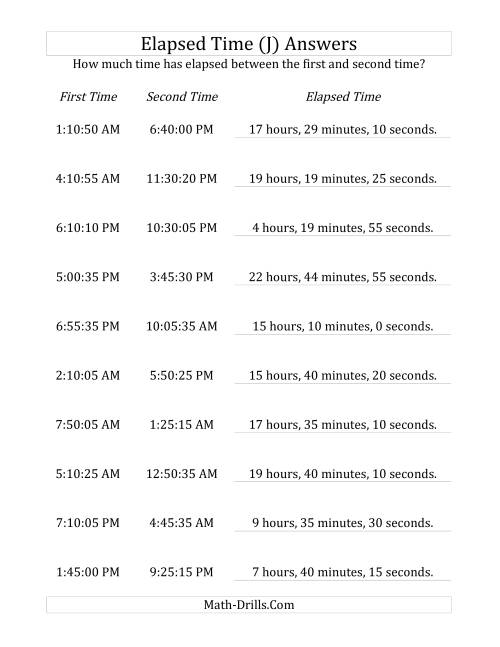 The Elapsed Time up to 24 Hours in 5 Minute and 5 Second Intervals (J) Math Worksheet Page 2
