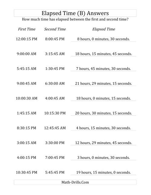 The Elapsed Time up to 24 Hours in 15 Minute and 15 Second Intervals (B) Math Worksheet Page 2