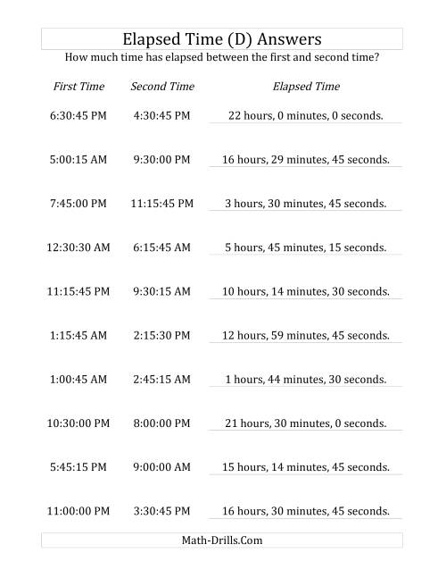 The Elapsed Time up to 24 Hours in 15 Minute and 15 Second Intervals (D) Math Worksheet Page 2