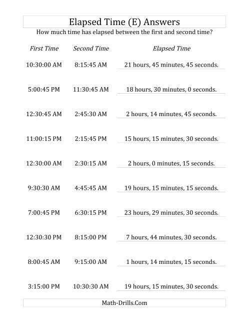 The Elapsed Time up to 24 Hours in 15 Minute and 15 Second Intervals (E) Math Worksheet Page 2