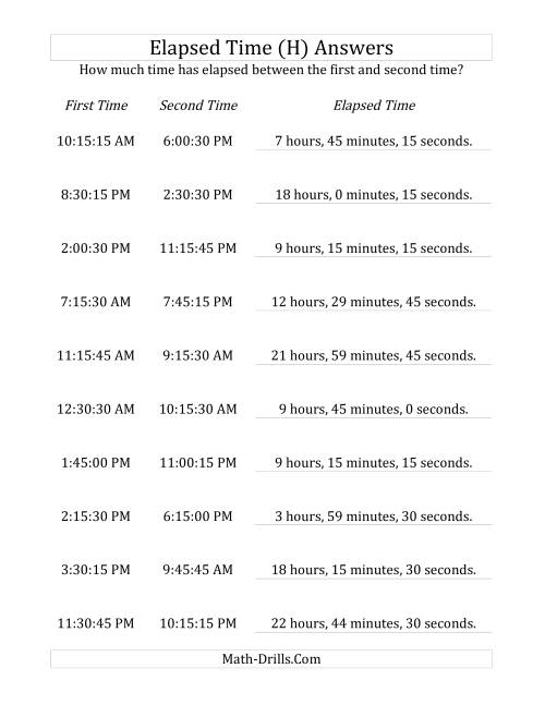 The Elapsed Time up to 24 Hours in 15 Minute and 15 Second Intervals (H) Math Worksheet Page 2