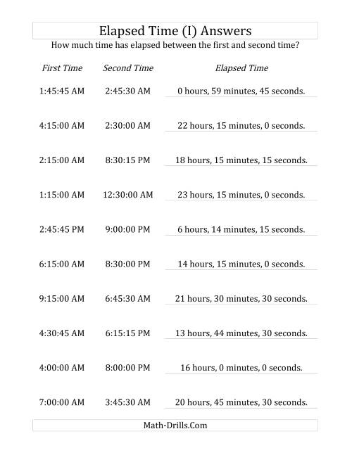 The Elapsed Time up to 24 Hours in 15 Minute and 15 Second Intervals (I) Math Worksheet Page 2