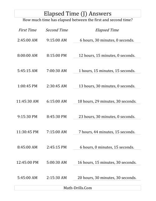 The Elapsed Time up to 24 Hours in 15 Minute and 15 Second Intervals (J) Math Worksheet Page 2