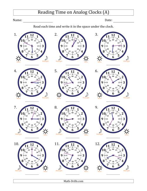 The Reading 24 Hour Time on Analog Clocks in 1 Minute Intervals (12 Clocks) (A) Math Worksheet