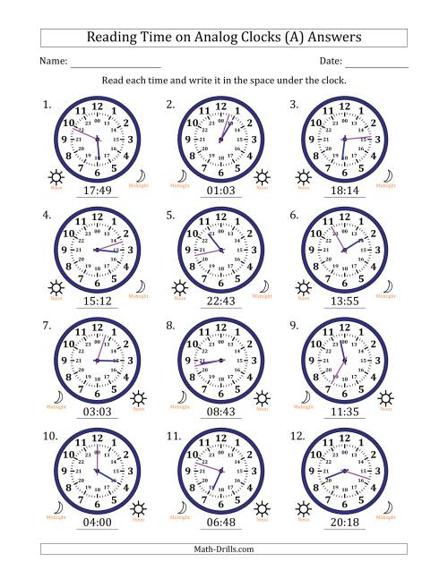 The Reading Time on 24 Hour Analog Clocks in 1 Minute Intervals (A) Math Worksheet Page 2