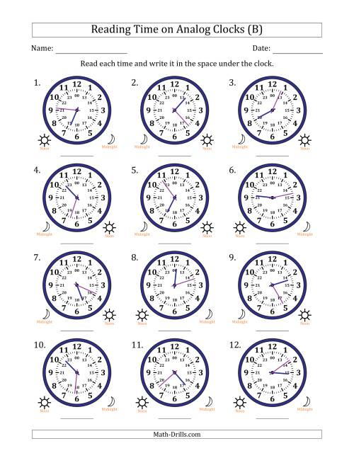 The Reading Time on 24 Hour Analog Clocks in 1 Minute Intervals (B) Math Worksheet