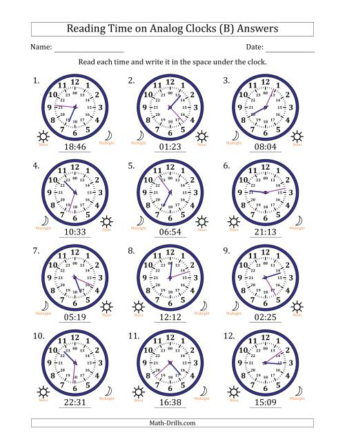 The Reading Time on 24 Hour Analog Clocks in 1 Minute Intervals (B) Math Worksheet Page 2