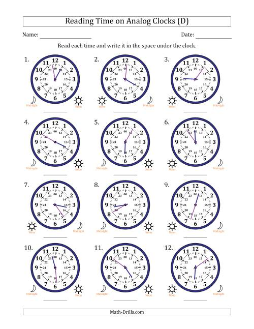 The Reading Time on 24 Hour Analog Clocks in 1 Minute Intervals (D) Math Worksheet