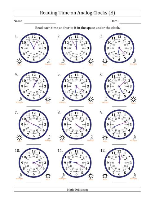 The Reading Time on 24 Hour Analog Clocks in 1 Minute Intervals (E) Math Worksheet