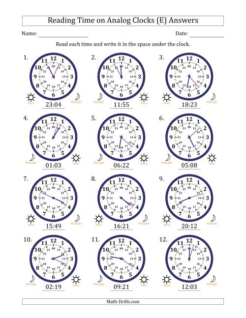 The Reading Time on 24 Hour Analog Clocks in 1 Minute Intervals (E) Math Worksheet Page 2
