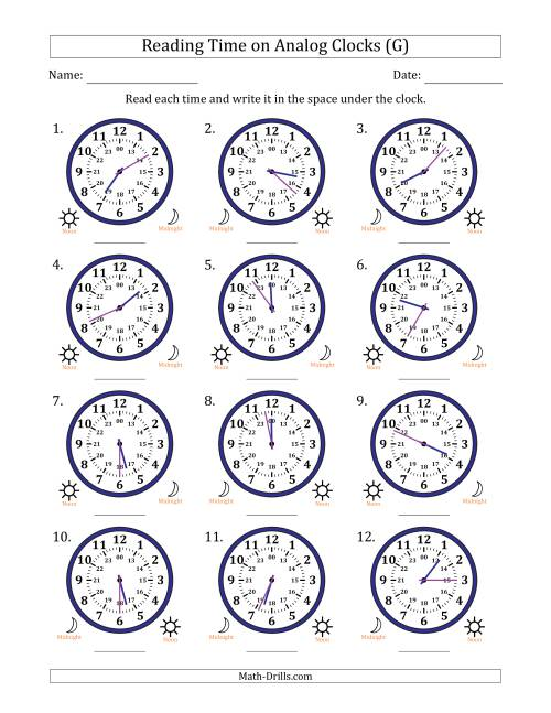 The Reading Time on 24 Hour Analog Clocks in 1 Minute Intervals (G) Math Worksheet
