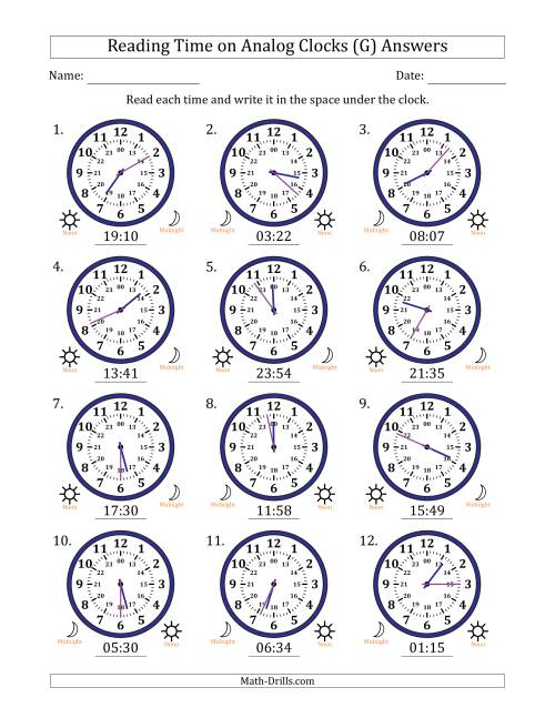 The Reading Time on 24 Hour Analog Clocks in 1 Minute Intervals (G) Math Worksheet Page 2