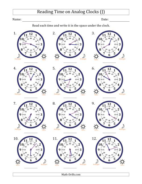 The Reading Time on 24 Hour Analog Clocks in 1 Minute Intervals (J) Math Worksheet