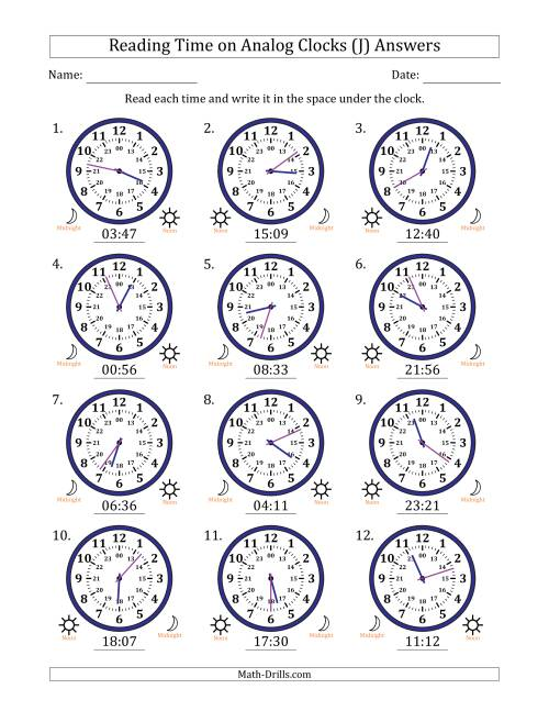 The Reading Time on 24 Hour Analog Clocks in 1 Minute Intervals (J) Math Worksheet Page 2