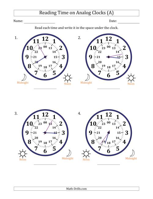 The Reading Time on 24 Hour Analog Clocks in 1 Minute Intervals (Large Clocks) (A) Math Worksheet