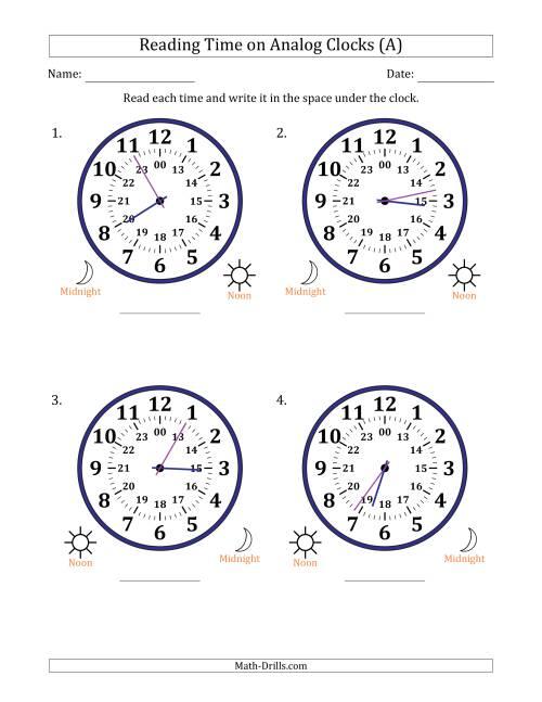 reading time on 24 hour analog clocks in 1 minute intervals large clocks a time worksheet. Black Bedroom Furniture Sets. Home Design Ideas